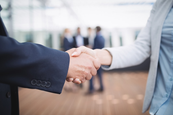 Adult site broker shaking hands with female client