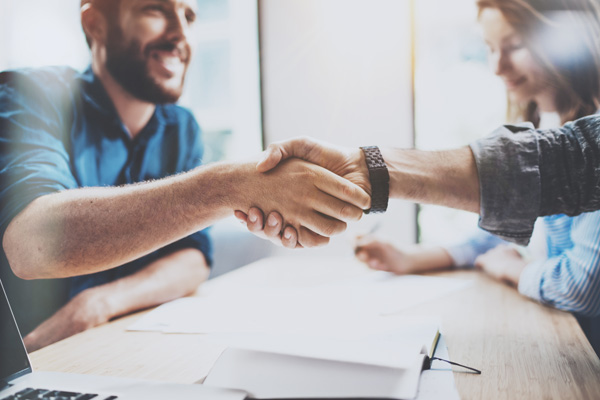 Bearded client shaking hands with business professional